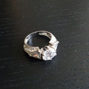 Sterling silver, diamond simulant ring